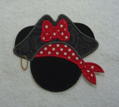 Minnie Mouse in Pirate Hat large Fabric by TheAppliquePatch, $10.00