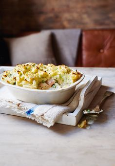 This pastry-free pie is a great dish to ease you into autumn. Search for 'fish and leek pie' on our website