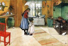 Visillos al viento, alfombras con estampados simples, el plato de leche del gatito...éso es el 'Estilo Sueco'