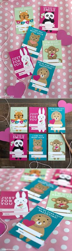 Printable Kids Valentine's Day Cards at www.liagriffith.com #Valentinesprintable #KidsValentines #Valentinescards