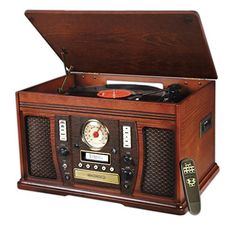 Wooden #music center with 6 different functions allows you to play music from any device via AUX-in
