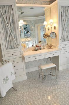 Cote de Texas - bathrooms - Waterworks Easton Telescope Stool, creamy, white, vanity, marble, top, mosaic, marble, tiles, floor, brushed nickel, towel warmer, built in vanity, marble top vanity,