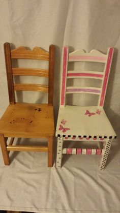 This charming and uniquely one of a kind hand painted girls old, school house chair. Is  a adorable Girls painted chair will be the hit in your youngster's play room,or  bedroom . Up-cycled vintage has given a wonderful new life, solid wooden chair hand painted and distressed  with caulk white p...