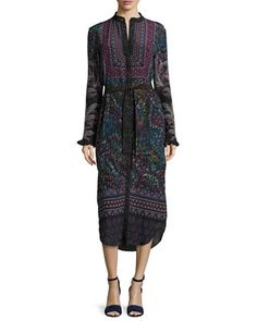 Molly-D+Belted+Silk+Shirtdress+by+Saloni+at+Neiman+Marcus.