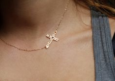 Personalized Cross Necklace gold Name Necklace Cross by capucinne, $94.00 I love this!! I'll get Mike and the baby's name