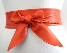 Orange soft Leather Obi Belt tulip tie| Bridesmaid Sash Belt | Real Leather Belt| Handmade Belt | Wrap Belt