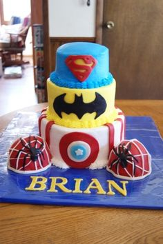 Superhero Cake for Brian By MountainEdgeCakes on CakeCentral.com - without the spiderman boobies lol!!