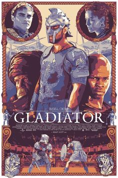 """Dani Blazquez's First Screenprint, """"Gladiator"""" Is Absolutely Brilliant Best Movie Posters, Classic Movie Posters, Cinema Posters, Movie Poster Art, Classic Films, Vintage Movies, Vintage Cartoon, Vintage Horror, Gladiator Movie"""