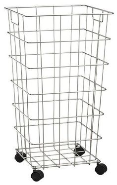Wire Hamper With Wheels contemporary hampers- wrapping paper storage