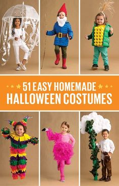 51 easy Halloween costumes for kids No-sew no problem! Weve got 51 of the EASIEST (and CUTEST) costumes right here. The post 51 easy Halloween costumes for kids appeared first on Halloween Costumes. Easy Homemade Halloween Costumes, Diy Halloween Costumes For Kids, Cute Costumes, Original Halloween Costumes, Halloween Halloween, Homemade Toddler Costumes, Costume Ideas, Kids Costumes Boys, Halloween Couples