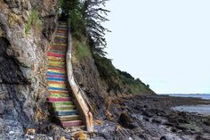 colorful rock staircase on the beach