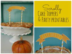 Fall scrolly cake topper and party printables from MichaelsMakers Tatertots and Jello