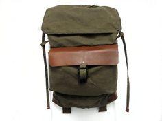 Sessa Carlo Backpack Haversack (Olive Green, Bittersweet Brown), Customizable