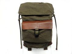 Sessa Carlo Waxed Canvas Backpack, Rucksack w/ Leather (Olive, Brown, Black) ($235.00) -etsy