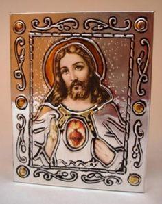 pequeño retablo repujado en aluminio retablo mini madera  aluminio  estampa repujado en aluminio
