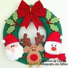 Resultado de imagem para ideas for felt christmas decorations Felt Christmas Decorations, Easy Christmas Crafts, Christmas Sewing, Christmas Activities, Christmas Art, Christmas Projects, Christmas Wreaths, Christmas Ornaments, 242