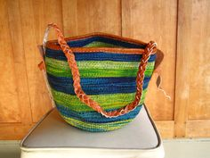 Ikavu Handwoven Sisal Basket with Braided Strap >> Multi-color Blue & Green