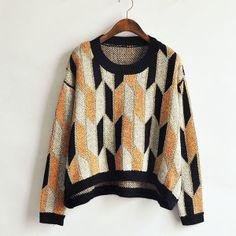 Gold diamond stripe spell color thick irregular hem knitted pullover sweater