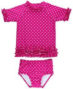Months Ducks Vintage Duck Blue Polkadot Swimsuit Swim Suit Cotton Baby Girl Set Bathing Suit Size 12
