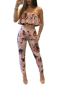 New Fashion Sexy Casual Women Suit Sexy Two-piece Outfits Strapless Crop Top Long Pants Floral Print Ruffles Bodycon Set Pink-geekbuyig 2 Piece Jumpsuit, Backless Jumpsuit, Printed Jumpsuit, Ladies Jumpsuit, Romper Suit, Denim Playsuit, Floral Playsuit, Women's Jackets, Women's Fashion Dresses