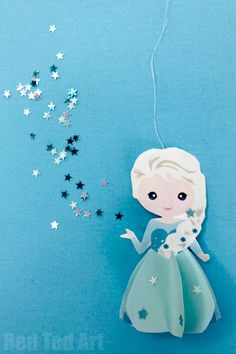 Paper Elsa Ornament Printable - a fabulous Frozen Movie Craft for kids. Make this Elsa Paper Doll or Ornament - so sweet and easy to make! Paper Crafts For Kids, Easy Crafts For Kids, Toddler Crafts, Art For Kids, Arts And Crafts, Diy Paper, Rock Crafts, Christmas Activities, Christmas Crafts For Kids