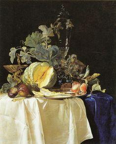 Willem van Aelst : Still life with Melon -1652  - Palazzo Pitti, Galleria Palatina, Florence, Italy
