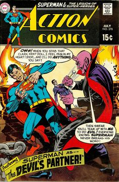 """Action Comics vol.1 # 378 - Superman, """"The Devil's Partner"""" (July, 1969). Cover by Neal Adams & Curt Swan."""