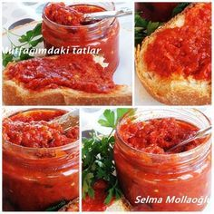 LUTENİTSA (breakfast sauce) In Bulgaria you can not get enough of the food . Breakfast Items, Breakfast Recipes, Salsa Guacamole, Chutney, Turkish Recipes, Ethnic Recipes, Turkish Breakfast, Food Porn, Winter Food