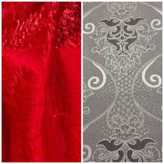 red and silver linens