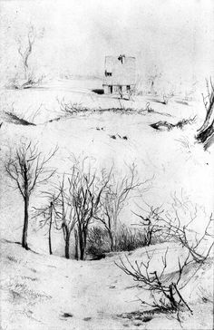 House and Bare Bushes Adolph von Menzel - circa Kupferstichkabinett - Berlin (Germany), Drawing - pencil Line Drawing, Drawing Sketches, Pencil Drawings, Art Drawings, Sketching, Painting Snow, Painting & Drawing, Watercolor Paintings, Adolf Von Menzel
