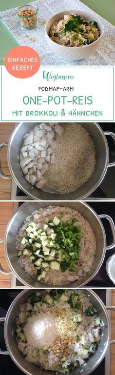 One-Pot-Reis mit Brokkoli und Hähnchen, FODMAP-arm, fructosearm, glutenfrei, laktosefrei // Wer braucht schon Pasta? Her mit leckeren Gemüsenudeln! FODMAP-arm, laktosefrei, glutenfrei, fructosearm // Noch mehr Rezepte findest du auf meinem Blog www.weglasserei.de // Dort findest du außerdem Tipps & Motivation, um deine Nahrungsmittelunverträglichkeiten in den Griff zu bekommen. Dort zeige ich dir, wie du die Ernährungsumstellung am besten angehst.