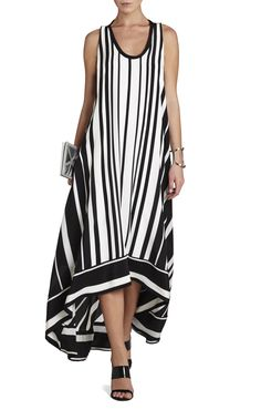 Gia Vertical-Striped Maxi Dress | BCBG
