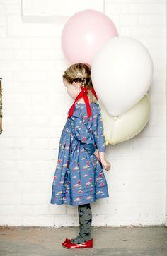 Sweet cloud print retro style dress from Little Duckling for winter 2013 girlswear Cute Kids Fashion, Retro Fashion, Girl Fashion, Fashion Spring, Stylish Kids, Kid Styles, Kids Wear, Cool Kids, Beautiful Outfits