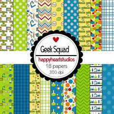 Digital Scrapbook GeekSquadINSTANT DOWNLOAD by azredhead on Etsy, $2.00