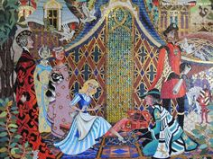 "Disney World / Magic Kingdom Trivia: There are approximately one million tiles that make up the scenes in the Cinderella's Castle Mosaic. The sister's eyes in the mosaic are green for ""green with envy""."