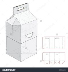 Two Parts Carrier Box With Ear Lock And Die Cut Template Stock Vector Illustration 249879673 : Shutterstock