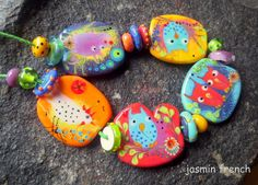 jasmin french  ' country living  ' lampwork tale beads set sra