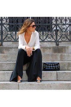 Palazzo pants + black and white