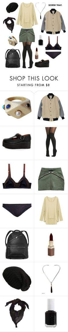 """""""Neat."""" by willoz ❤ liked on Polyvore featuring MTNG, Pretty Polly, Skin, Monki, Fashion Fair, NOVICA, Avant Toi and Essie"""