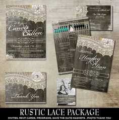 Rustic Wedding Invitation Suite. Rustic chic in style.