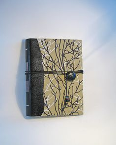 Hand Bound Hard Cover Journal with Leather Spine Notebook Sketchbook Art Journal Recipe Book Writers Journal