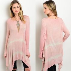 🎉CLEARANCE🎉Pink Ivory Long Sleeve Tie Dye Tunic New with tags. Dusty pink and Ivory long sleeve top featuring a relaxed fit, tie-dye print, and a long line handkerchief hem. Available in size S and M.                                                                         🌸96% rayon, 4% spandex.                                            🌸Made in USA.                                                         🌺PRICE IS FIRM UNLESS BUNDLED.                     ❌SORRY, NO TRADES. Boutique…