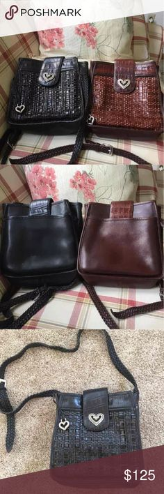 👀👜2 BRIGHTON LEATHER  PURSES 👜👀 2 great purses. Same style just different colors. One is black leather the other brown leather. Both are in EUC. No broken weaves and both have the beautiful silver brighton hardware. Insides are in EUC also. The woven leather shoulder straps are adjustable and could be made long enough to make them Crossbody purses.  Very pretty Purses Brighton Bags Crossbody Bags