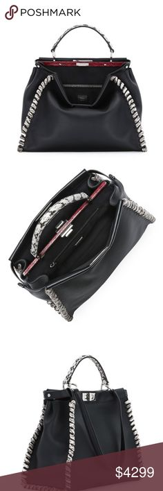 "New Authentic Fendi Whipstitch Peekaboo Bag New Fendi Peekaboo Large Whipstitch Snake Satchel Bag  Color: Black  11.8H x 15.8W x 5.9D.  Fendi calfskin satchel with silvertone hardware.  Snakeskin whipstitch trim and accents.  Top handle and detachable shoulder strap.  Contrast snakeskin top; double-sided turn-lock closure with Fendi logo.  Button-tabs on sides.  Two individually enclosed pockets.  ""Peekaboo"" is made in Italy. Fendi Bags Totes"