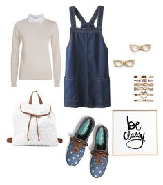 """""""Be classy!"""" by petiteorange ❤ liked on Polyvore featuring Charlotte Russe, River Island, Keds, Kate Spade, See by Chloé, DENY Designs, denim, Blue, cream and keds"""