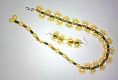 tatted necklace and earrings