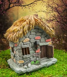 Stone cottage fairy house for your mini fairy gardens.