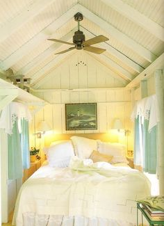 [I absolutely love the window treatments in this little beach cottage bedroom!: A Collection of Beach Cottage Bedroom Inspiration Cottage Style Bedrooms, Tiny House Bedroom, Beach Cottage Style, Cottage Living, Home Bedroom, Bedroom Decor, Coastal Cottage, Bedroom Loft, Beach House