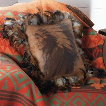 Aztec never goes out of style Rustic Bedroom Design, Rustic Master Bedroom, Bedroom Designs, Copper Lantern, Western Bedding, Summer Quilts, Feather Pillows, Colorful Feathers, Western Homes