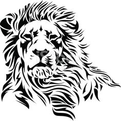 A Lion head in black and white.